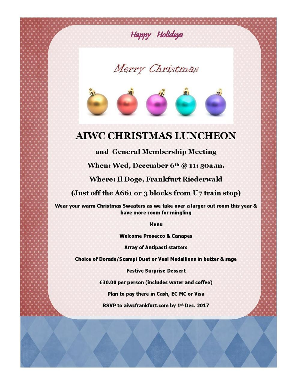 christmas luncheon flyer